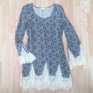 NWOT Blu Pepper Blue & Ivory Lace Trim Tunic Dress